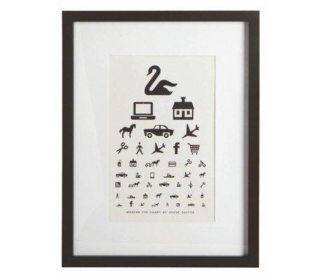 Housedoctor Lijst met poster zwart hout 33x43cm, Frame The Eye Chart