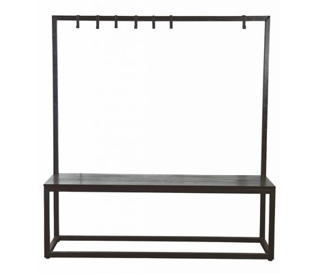 Housedoctor Bank & kapstok zwart metaal/hout 150x40x160cm, Bench & Rack black