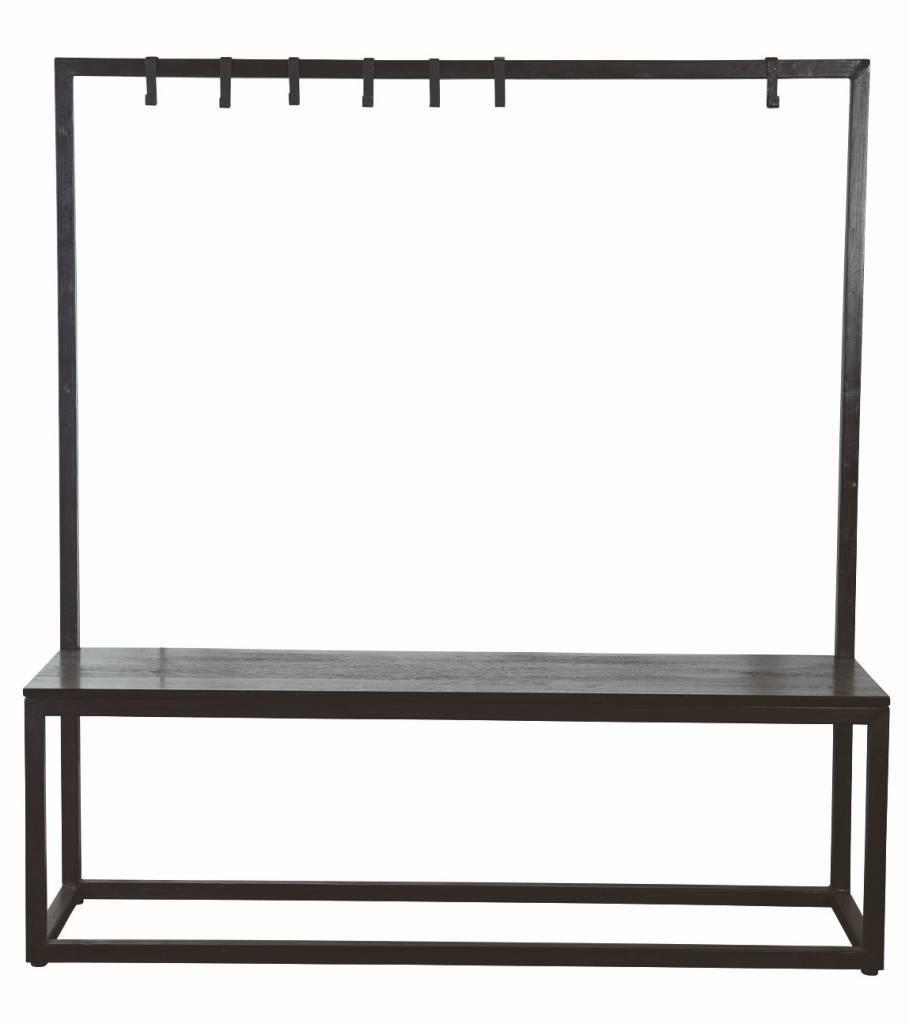 housedoctor bank kapstok zwart metaal hout 150x40x160cm bench rack black. Black Bedroom Furniture Sets. Home Design Ideas