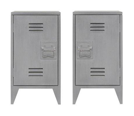 HK-living Nachtkastje locker set van 2 grijs hout 65x36x33cm