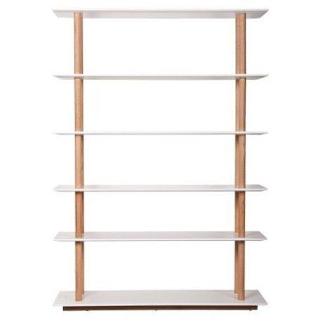 Zuiver Boekenkast wit MDF naturel eiken 120x39x168,5 cm, BOOKSHELF HIGH ON WOOD