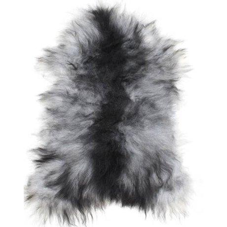 HK-living Schapenvacht zwart/wit +/-55X90cm, IJslandse schapenvacht grijs