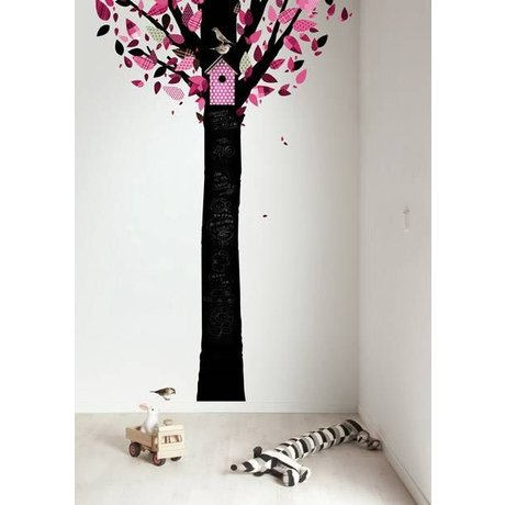 KEK Amsterdam Schoolbordsticker 185x260cm zwart/roze Chalkboard Tree schoolbordfolie