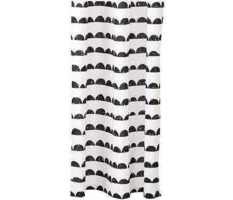 Ferm Living Douchegordijn zwart/wit katoen Half Moon Shower Curtain 160x200cm