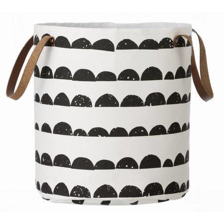 Ferm Living Mand zwart/wit katoen Basket Half Moon 35x40cm