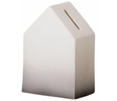 Ferm Living Spaarpot wit/donkergrijs porselein House of Money 5,5x12cm