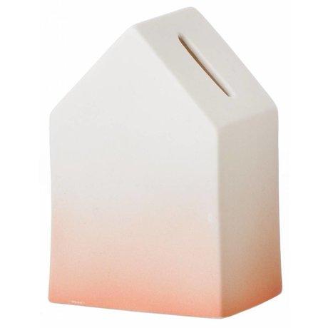 Ferm Living Spaarpot wit/oranje porselein House of Money 5,5x12cm