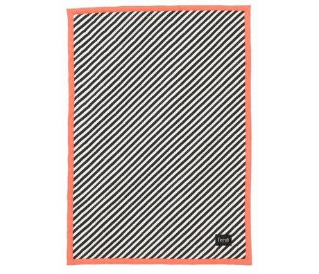 Ferm Living Deken zwart/wit/oranje gewatteerd katoen Blanket Neon 70x100cm