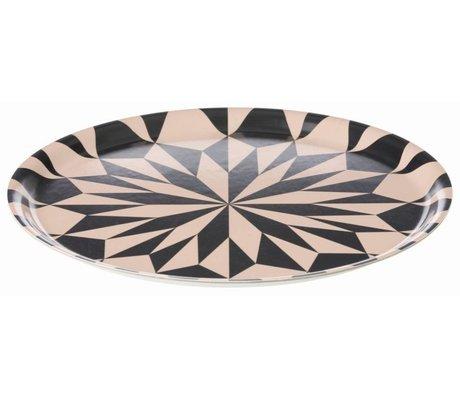 Ferm Living Dienblad zwart/roze gelamineerd fineer Tray Star ø 31cm