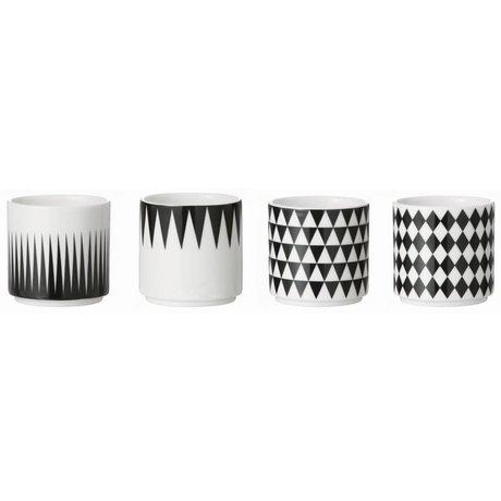 Ferm Living Kopjes set van 4 zwart/wit porselein Espresso Cups Geometry 5,5x5,5cm