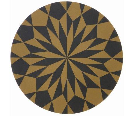 Ferm Living Snijplank zwart/ geel gelamineerd berkenfineer Cutting Board Stars ø 23cm