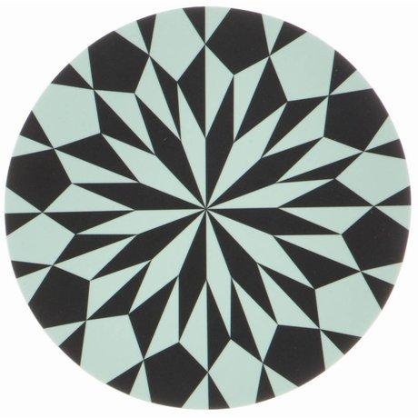 Ferm Living Snijplank zwart/blauw gelamineerd berkenfineer Cutting Board Star ø 23cm