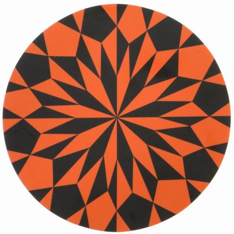 Ferm Living Snijplank zwart/oranje gelamineerd berkenfineer Cutting Board Stars ø 23cm