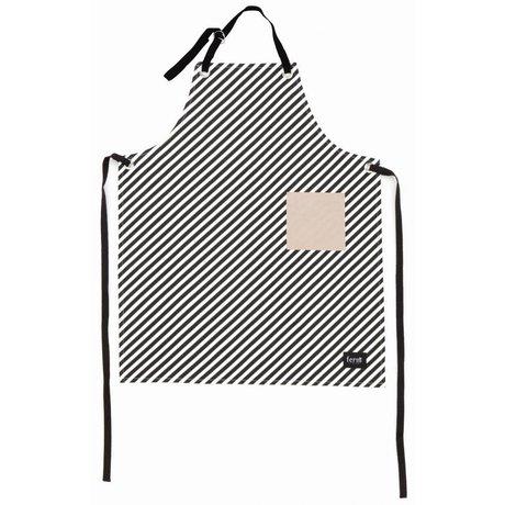 Ferm Living Keukenschort zwart/wit organisch katoen Apron 70x95cm