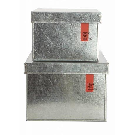 Housedoctor Opbergkisten metaal met deksel, set van 2, 18x18x14 cm en 22x22x18 cm