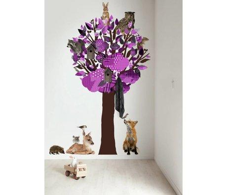 KEK Amsterdam Muursticker/Kapstok paars 120x220cm Forest Friends Tree XL muurfolie