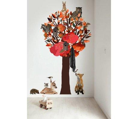 KEK Amsterdam Muursticker/Kapstok oranje 120x220cm Forest Friends Tree XL muurfolie