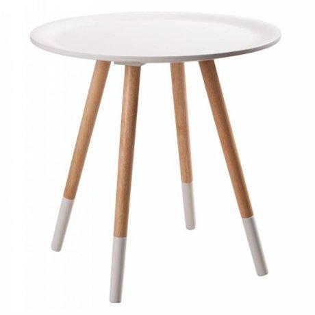 Zuiver Bijzettafel hout wit Ø48x47.5cm, Two tone white