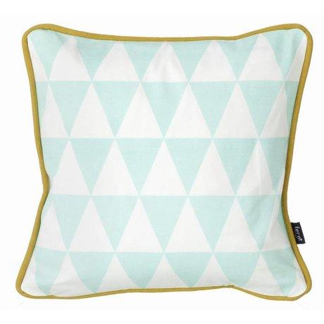 Ferm Living Sierkussen blauw/wit & zwart/wit organisch katoen/donzen vulling 30x30cm,  Little Geometry - Mint