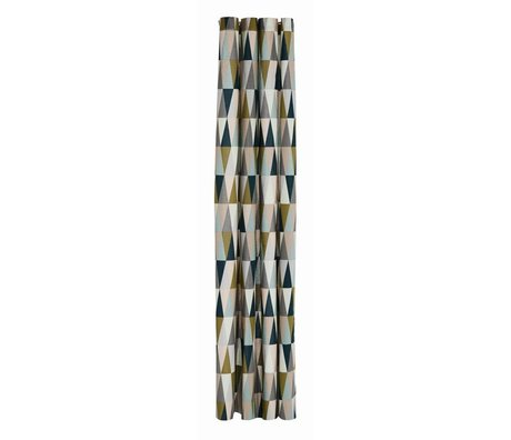 Ferm Living Douchegordijn Spear multicolour katoen waterproof 160x205cm