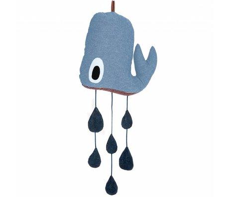 Ferm Living Mobile blauw denim katoen 25x55cm, Whale Mobile