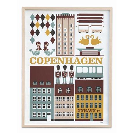 Ferm Living Poster Copenhagen Large multicolour papier 50x70cm