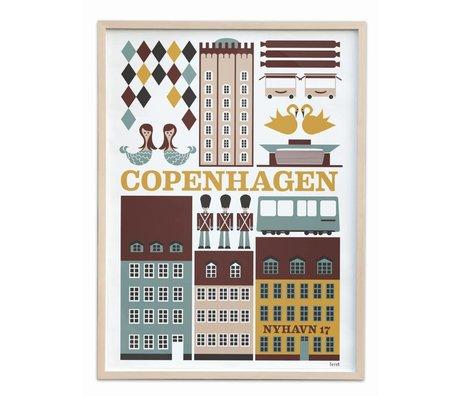 Ferm Living Poster Copenhagen small multicolour papier 30x42cm