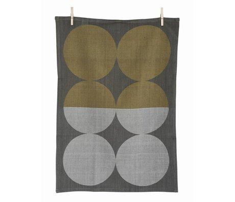 Ferm Living Theedoek Moon Grey bruin/grijs katoen geweven 50x70cm