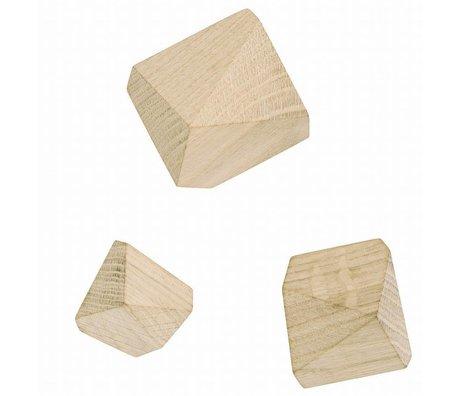 Ferm Living Ferm Living Haken / kapstok set van 3 Diamond Hooks eikenhout creme 6,7 en 8 cm