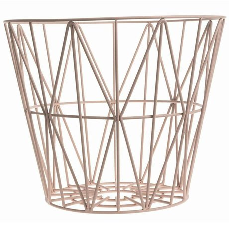 Ferm Living Mand roze ijzer 3 maten 40x35cm,50x40cm,60x45cm Wire Basket