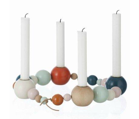 Ferm Living Kandelaar multicolour hout 85cm, candleholder string