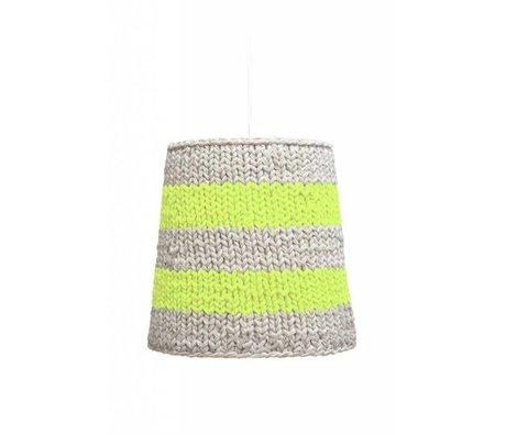 HK-living Hanglamp neon groen/creme gebreid katoen Ø26x25cm