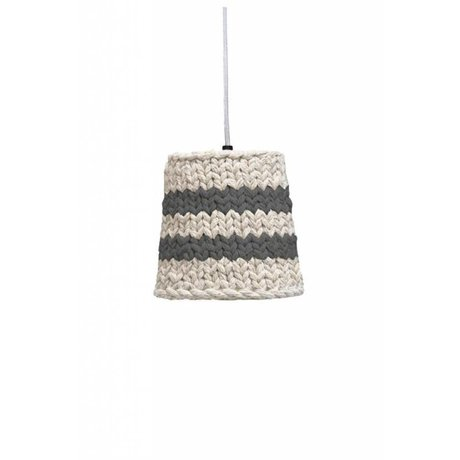 HK-living Hanglamp grijs/creme gebreid katoen Ø15x20cm