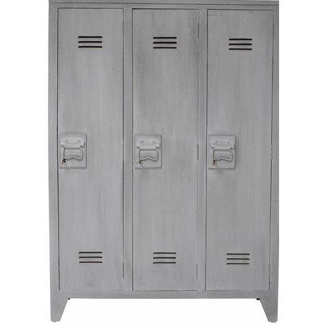 HK-living Kast grijs hout 103x35x155cm, Locker hout