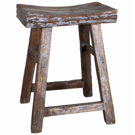 HK-living Kruk bruin naturel hout 25x42x54cm, Kruk reclaimed teak