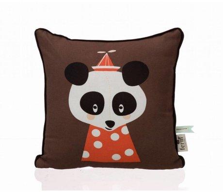Ferm Living Sierkussen Posey Panda bruin 30x30cm