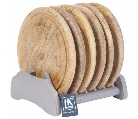 HK-living Bordenset (rekje met 6 borden) hout naturel grijs Ø23cm