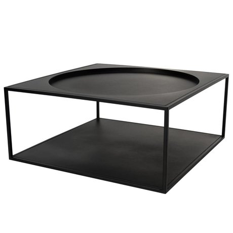 HK-living Koffietafel zwart metaal mat 69x69x30cm