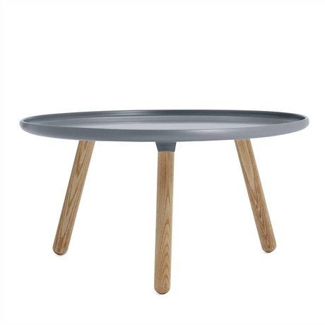 Normann Copenhagen Tafel Tablo grijs kunststof essen hout ø78cm