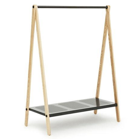 Normann Copenhagen Kledingrek Toj grijs staal essen hout 160x120x59,5cm
