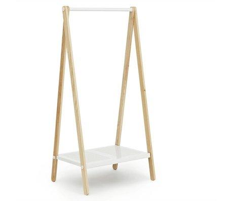 Normann Copenhagen Kledingrek Toj wit staal essen hout 160x74x59,5cm