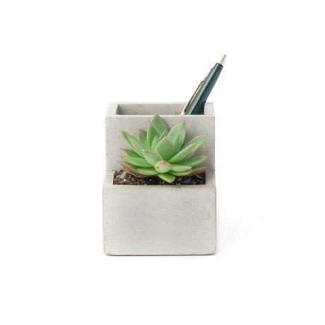 LEF collections Plant en pennenhouder klein grijs wit beton 9,6x8x9cm