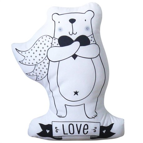A Little Lovely Company Kussen Bear Love katoen wit 24x34cm