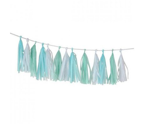 A Little Lovely Company Slinger DIY Tassel Garland Cool 12x36cm