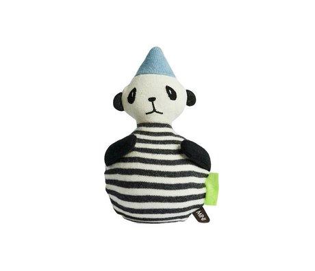 OYOY Roly-Poly Panda wit zwart katoen 12x22cm