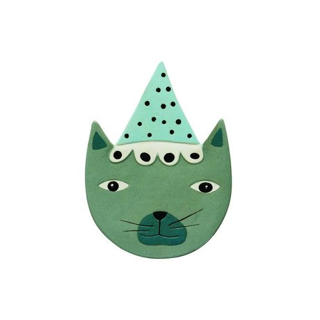 OYOY Wandbord Buster Cat blauw groen keramiek 20x27cm