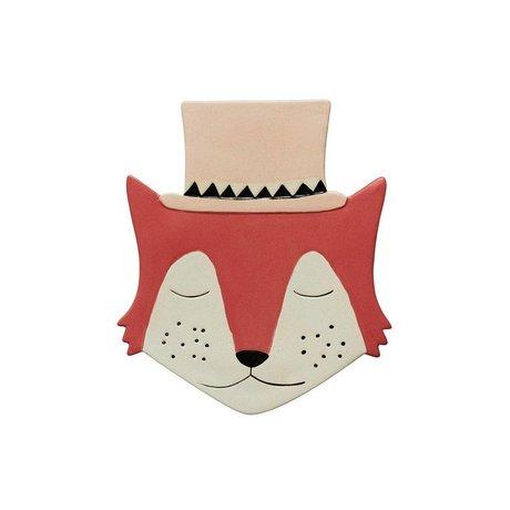 OYOY Wandbord Foxy rood creme keramiek 26x23cm