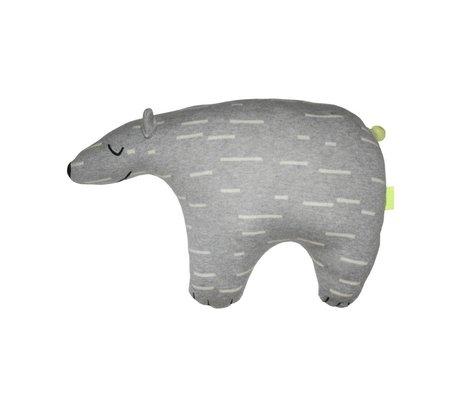 OYOY Knuffel Knut ijsbeer grijs wit katoen 52x14x34cm