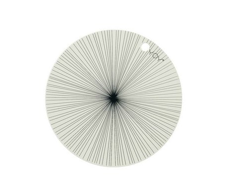 OYOY Placemat gebroken wit zwart sillecone set van twee 39x0,15cm