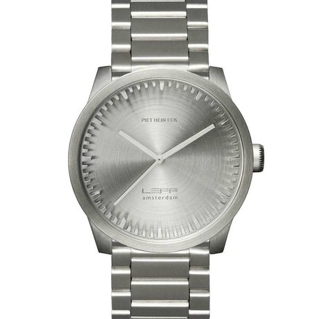LEFF Amsterdam Horloge Tube watch S42 geborsteld rvs zilver met massief rvs band waterdicht Ø42x11,4mm
